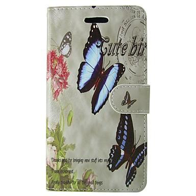 Недорогие Чехлы и кейсы для Galaxy S4 Mini-Кейс для Назначение SSamsung Galaxy S8 / S7 / S6 edge Кошелек / Бумажник для карт / со стендом Чехол Бабочка / Цветы Твердый Кожа PU