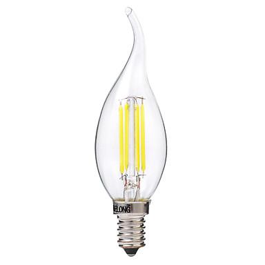 BRELONG® 4 W LED Λάμπες Πυράκτωσης 400 lm E14 C35 4 LED χάντρες COB Θερμό Λευκό Άσπρο 220-240 V, 1pc / 1 τμχ
