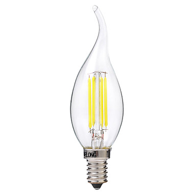 BRELONG® 1pc 4W 400lm E14 LED Glühlampen C35 4 LED-Perlen COB Warmes Weiß Weiß 220-240V