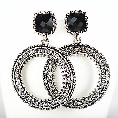 للمرأة أقراط قطرة حجر الراين euramerican في موضة سبيكة Circle Shape مجوهرات أبيض أسود يوميا فضفاض مجوهرات