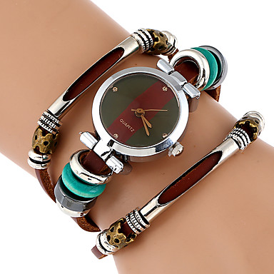 cheap Women's Watches-Women's Bracelet Watch Wrist Watch Quartz Wrap Genuine Leather Brown Cool Imitation Diamond Analog Ladies Vintage Casual Butterfly Bohemian - Black Brown Green One Year Battery Life