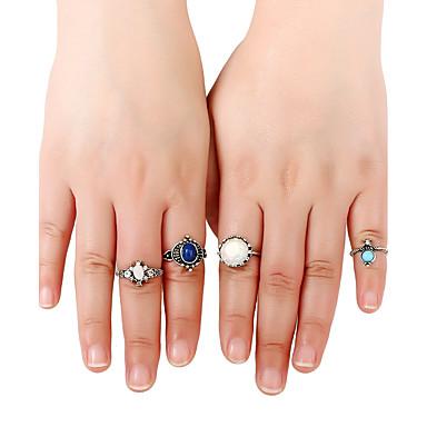 Pentru femei manşetă Ring Inel Band Ring Argintiu Aliaj Metalic Reșină Aliaj Rotund Personalizat Euramerican Stâncă stil minimalist