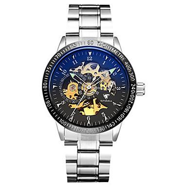 للرجال ساعة الهيكل ووتش الميكانيكية ياباني داخل الساعة أتوماتيك قضية أشابة فرقة فضة