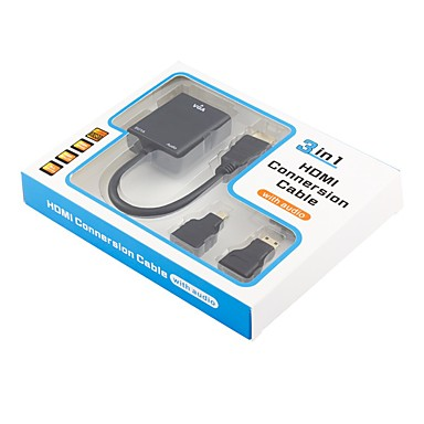 VGA Adapter, VGA to HDMI 1.4 Mini HDMI Micro HDMI Adapter Mannelijk - Vrouwelijk 0,2m (0.65Ft)