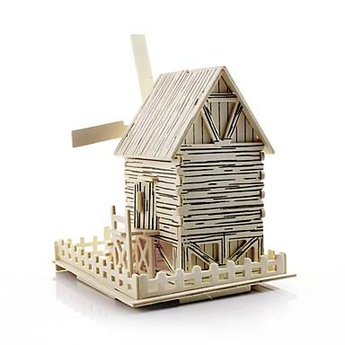 لعبة سيارات قطع تركيب3D عنفة الخشب نموذج ألعاب طاحونة هوائية بناء مشهور بيت معمارية اصنع بنفسك خشبي خشب غير محدد قطع