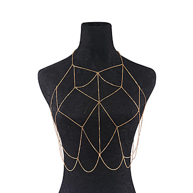 سلسلة الجسم / سلسلة البطن - للمرأة ذهبي فضي مصنوع يدوي موضة Geometric Shape مجوهرات الجسم  من أجل لباس يومي فضفاض ملابس الخارج نادي