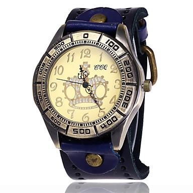 Herrn Simulierter Diamant Uhr Einzigartige kreative Uhr Armband-Uhr Armbanduhren für den Alltag Chinesisch Quartz Leder Band Charme Retro