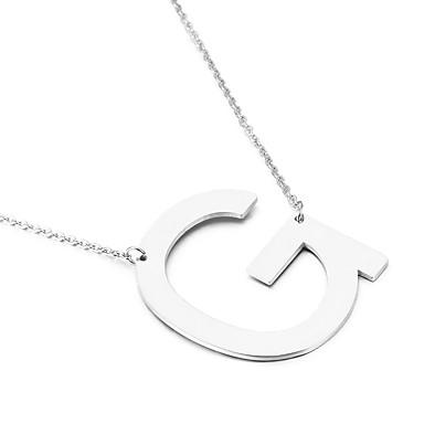 Heren Dames Hangertjes ketting Alfabetvorm Roestvast staal Vriendschap Initial Jewelry Eenvoudige Stijl Modieus Euramerican Sieraden Voor