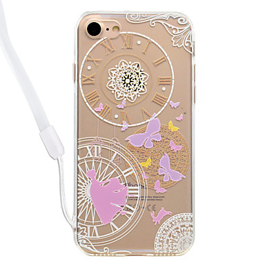 Maska Pentru Apple Transparent Model Carcasă Spate Fluture Model Geometric Greu Acrilic pentru iPhone 7 Plus iPhone 7 iPhone 6s Plus