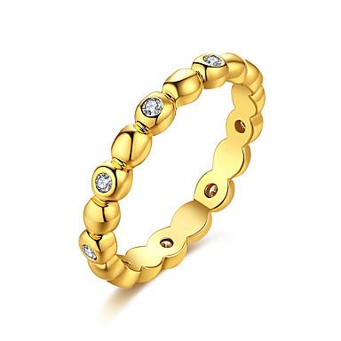 Damen Ring Kubikzirkonia Gold Silber Zirkon Kupfer versilbert vergoldet 18K Gold Geometrische Form Irregulär Personalisiert Luxus