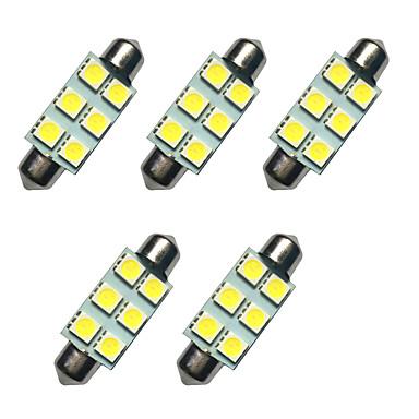 5pcs lumini LED dublu ars 41mm 1w 6smd 5050 cip alb 80-100lm 6500-7000k dc12v lectură lumina plăcuței de înmatriculare