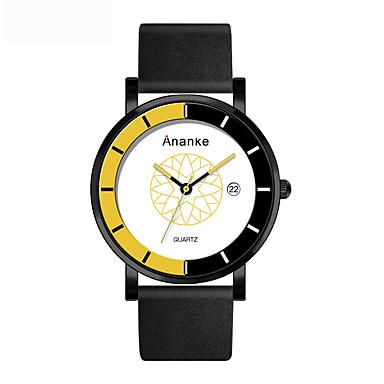 Herrn Quartz Sportuhr Chinesisch Armbanduhren für den Alltag Echtes Leder Band Kreativ Freizeit Kleideruhr Modisch Schwarz