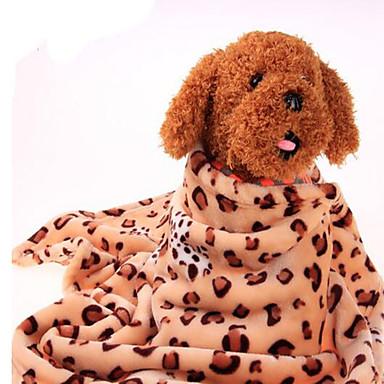 كلب الأسرّة حيوانات أليفة بطانيات جلد نمر دافئ المحمول مزدوج ناعم منقط فهدي