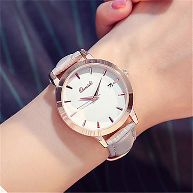 Damen Modeuhr Armbanduhr Quartz Kalender Leder Band Schwarz Weiß Grau