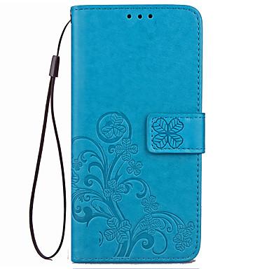 غطاء من أجل Xiaomi حامل البطاقات محفظة مع حامل قلب مطرز غطاء كامل للجسم لون الصلبة زهور قاسي جلد PU إلى Xiaomi Redmi 4X