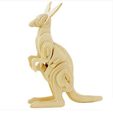 3D-puzzels Legpuzzel Modelbouwsets Hout Model Dier 3D Kangoeroe Dieren DHZ Hout Natuurlijk Hout 6 jaar en ouder