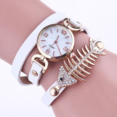 Dames Armbandhorloge Chinees Kwarts PU Band Elegante horloges Zwart Wit Rood Grijs Roze Kaki Marineblauw roze