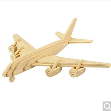 3D-puzzels Legpuzzel Houten modellen Vliegtuig 3D DHZ Hout Natuurlijk Hout 6 jaar en ouder