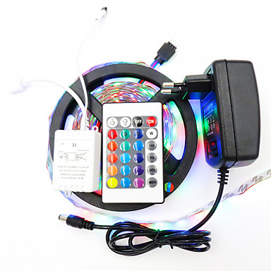 Leuchtbänder RGB 300 LEDs RGB Fernbedienungskontrolle Schneidbar Abblendbar Wasserfest Farbwechsel DC 12V
