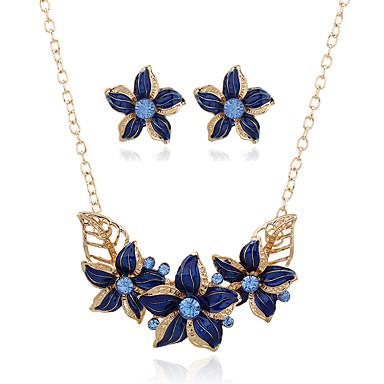 Pentru femei Ștras Set bijuterii - Stil Atârnat Pandantiv Euramerican Geometric Shape Floare Alb Negru Mov Albastru Inel de declarație