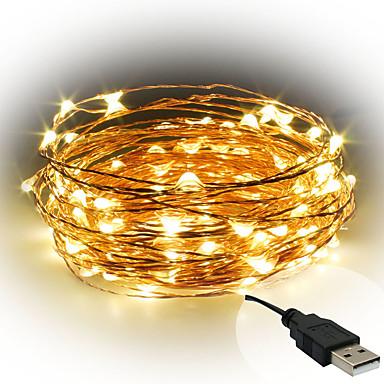 10m Fâșii de Iluminat 100 LED-uri Alb Cald / Alb / Roșu <5 V / IP65