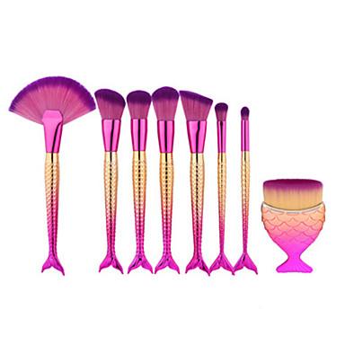 8pcs formă de pește sirenă machiaj perie ventilator pro soft perie cosmetice set kit kabuki