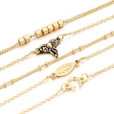 Damen Zirkon versilbert Blattform Ketten- & Glieder-Armbänder - Freundschaft Modisch Blattform Gold Armbänder Für Weihnachts Geschenke