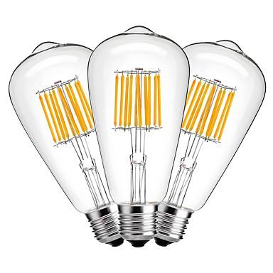 3 stuks 10W 1000lm E27 LED-gloeilampen ST64 10 LED-kralen COB Decoratief Warm wit 220-240V