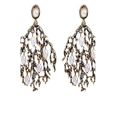Damen Tropfen-Ohrringe Imitierte Perlen Personalisiert Retro Modisch überdimensional Aleación Blattform Schmuck Für Zeremonie Normal