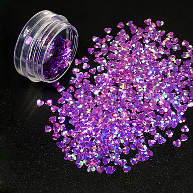 1g / sticla de unghii arta romantica forma de inima steaguri stralucitoare sclipici purpuriu design paillette minunat decor 3D pentru