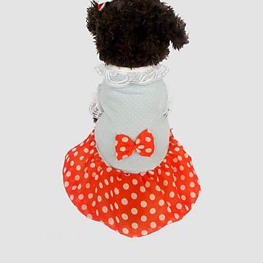 كلب الفساتين ملابس الكلاب منقط أصفر أحمر قطن كوستيوم للحيوانات الأليفة صيف للرجال للمرأة كاجوال/يومي