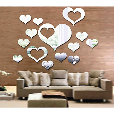 Abstract Romantiek Vormen Muurstickers Spiegel muurstickers Decoratieve Muurstickers, Acryl Huisdecoratie Muursticker Wand