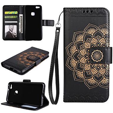 hoesje Voor Huawei P9 Lite Huawei Huawei P8 Lite Kaarthouder Portemonnee met standaard Flip Volledig hoesje Mandala Hard PU-nahka voor