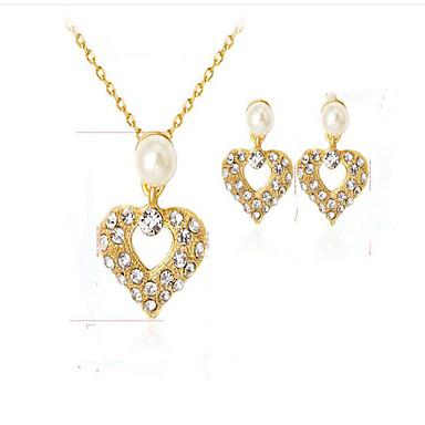 للمرأة الماس الاصطناعية لؤلؤ تقليدي مطلية بالذهب قلب مجموعة مجوهرات - euramerican في موضة قلب اطقم ذهب و مجوهرات من أجل حزب مناسبة / حفلة