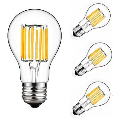 4pcs 10 W 900 lm E26 / E27 Ampoules à Filament LED A60(A19) 10 Perles LED COB Décorative Blanc Chaud / Blanc Froid 220-240 V / 4 pièces / RoHs