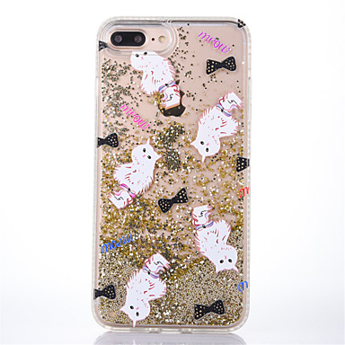 hoesje Voor Apple iPhone 7 Plus iPhone 7 Stromende vloeistof Transparant Patroon Achterkant Kat Glitterglans Hard PC voor iPhone 7 Plus