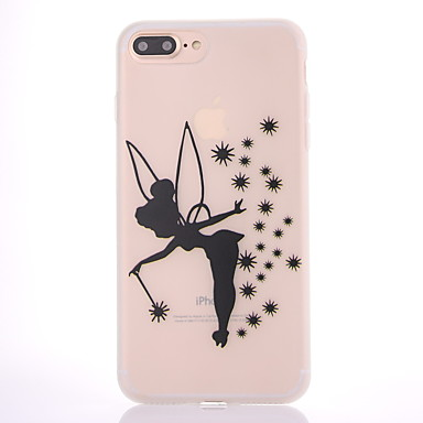 Case voor apple iphone 7 7 plus case hoesje zwart engel patroon scrub doorschijnend dikker tpu materiaal zacht geval telefoon hoesje 6s 6