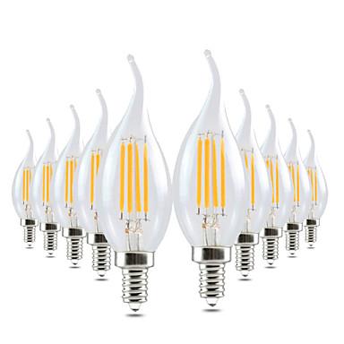 YWXLIGHT® 10 stuks 4W 300-400 lm E14 LED-kaarslampen CA35 4 leds COB Dimbaar Decoratief Warm wit AC 220-240V