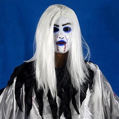 الرهيبة توثي أبيض طويل الشعر شبح الوجه اللاتكس قناع لينة هالوين حزب الدعامة زي موس