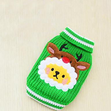 Hund Pullover Hundekleidung Weihnachten Rot Grün Baumwolle Daune Kostüm Für Haustiere Herrn Damen Lässig / Alltäglich