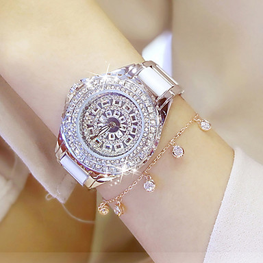 Damen Quartz Pavé-Uhr Armbanduhr Armband-Uhr Chinesisch Wasserdicht Edelstahl Band Charme Luxus Kreativ Freizeit Simulierte Diamant-Uhr