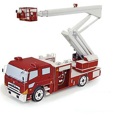 Spielzeug-Autos 3D - Puzzle Papiermodel Quadratisch Feuerwehr Autos 3D Heimwerken Hartkartonpapier Klassisch Feuerwehrauto Jungen Unisex