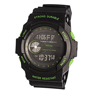 للرجال ساعة رياضية رقمي مطاط فرقة أسود أخضر