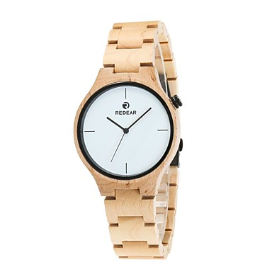Heren Horloge Hout Japans Kwarts houten Hout Band Luxueus Elegante horloges Bruin Ivoor