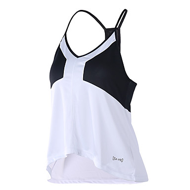 للمرأة تانك رياضي اللياقة البدنية، والجري واليوغا متنفس إلى يوغا تشغيل لياقة بدنية فضفاض أسود/أبيض