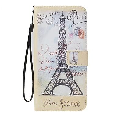 Case voor apple iphone 7 7 plus deksel kaarthouder portemonnee strass met tribune flip patroon vol lichaam eiffeltoren hard pu leer voor 6