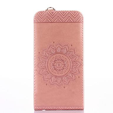 Voor iPhone X iPhone 8 iPhone 8 Plus Hoesje cover Kaarthouder met standaard Flip Reliëfopdruk Volledige behuizing hoesje Effen Kleur Bloem