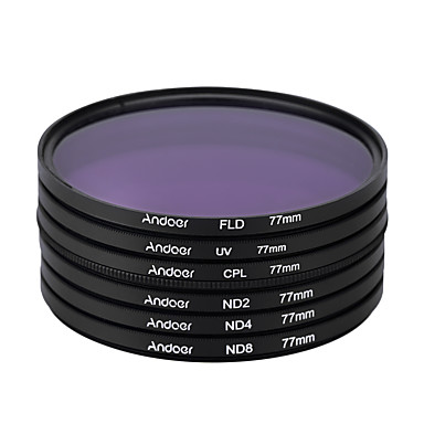 Andoer 77mm uv cpl fld nd (nd2 nd4 nd8) filtru de film kit kit set ultraviolet circular-polarizant fluorescent neutru densitate filtru