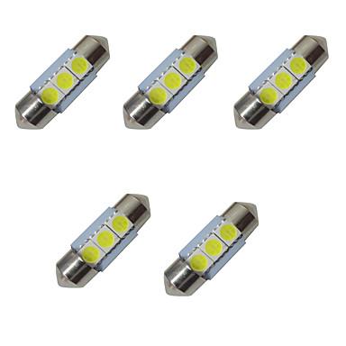 5pcs lumini led dublu ascuțite 31mm 1w 3smd 5050 cip 80-100lm 6500-7000k dc12v lectură lumina plăcuței de înmatriculare