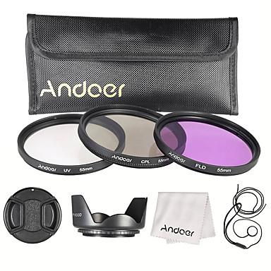 Andoer 55mm filterkit (uv cpl fld) nylon draagtas lenslens caplens kapsleer lens lens lens reinigingsdoekje